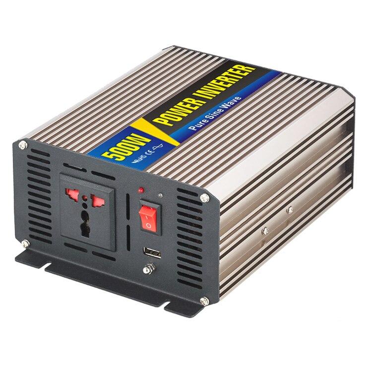 Hot Sale Smart Series 500W DC12V to AC 220V Pure Sine Wave 500 Watt DC to AC Power Inverter USB Auto Power Adapter