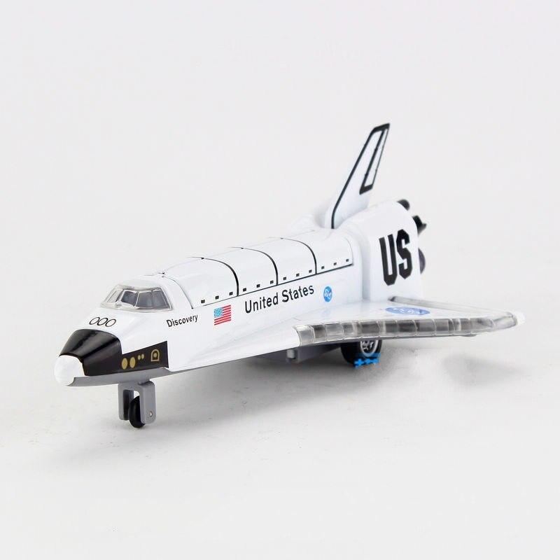 Envío Gratis niños US Discovery Space Shuttle diecast Metal avión juguete sonido & intermitente & Pull Back regalo niños