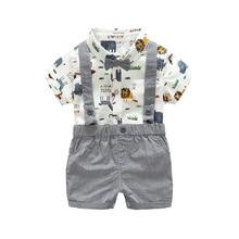 Одежда для новорожденных, футболка с коротким рукавом и изображением животных для маленьких мальчиков и девочек, комплект из топа и серых коротких клетчатых штанов, повседневная одежда, детские комбинезоны