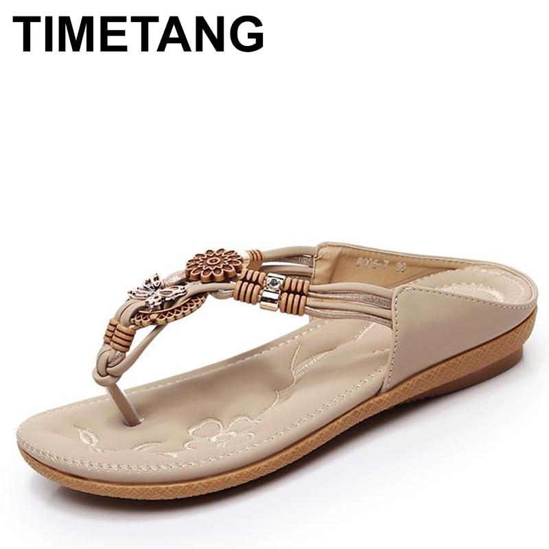 TIMETANG, Sandalias planas bohemios étnicos de verano para mujer, sandalias chanclas con cuenta para mujer, sandalias de playa de talla grande, zapatos informales 36-41
