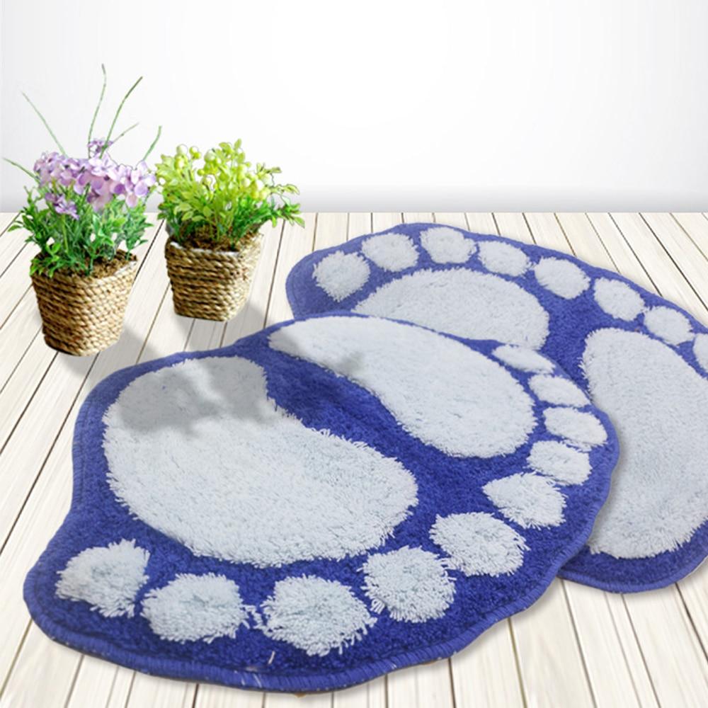 Tapete alfombra para baño deslizable OrloNon estampado Pies Grandes modernos azules 40x60
