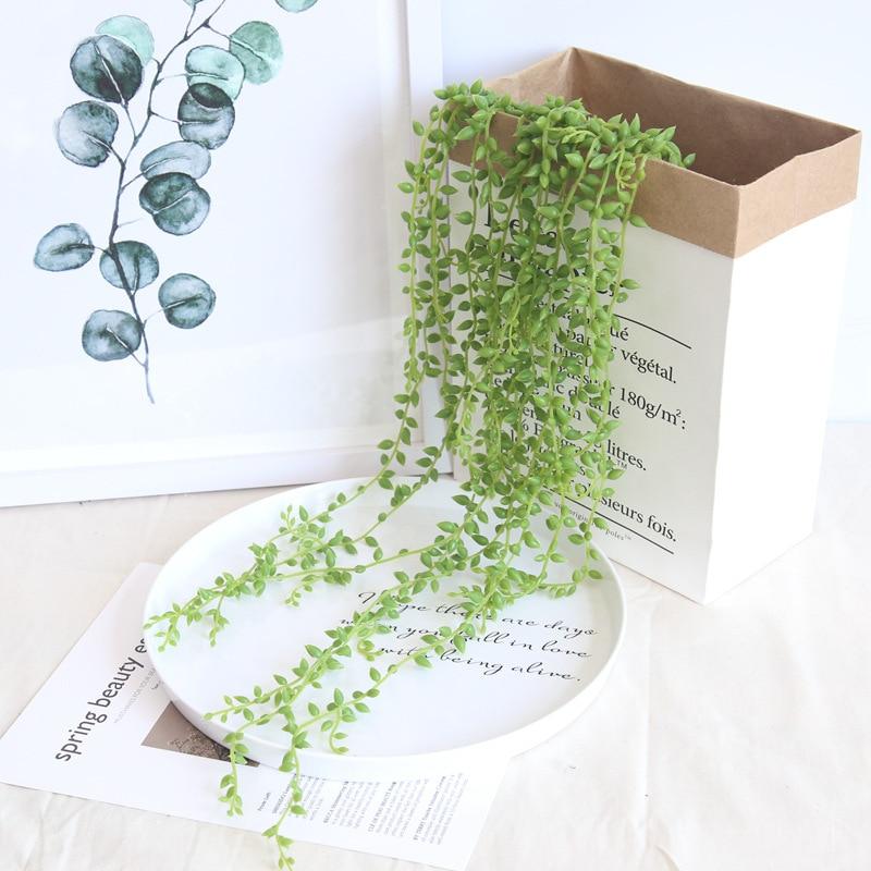 5 uds plantas suculentas artificiales perlas Vid verde carnosas flores DIY colgando ratán pared simulación flor lágrimas de amantes