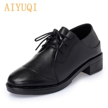 Aiyuqi Autumn New 2021 Lace Women Shoes Genuine Leather Rubber Shoes Women Low-heeled Shoes for Wome