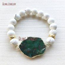 Jades australiennes Chrysoprase blanc Turquoises gemmes or Bracelet perlé BM26459