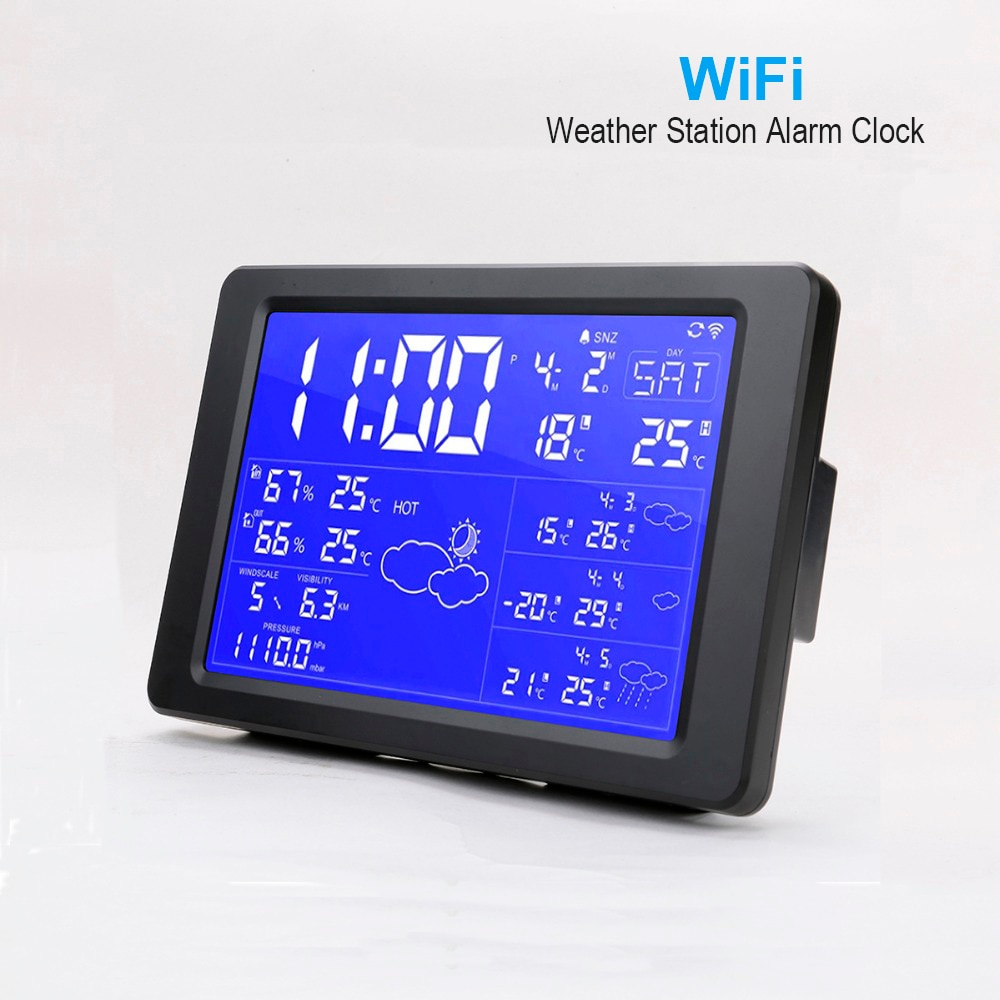 New Smart WiFi Weather Station Alarm Clock With Backlight Digital Clock Desktop Clock Support Weather Forecast For Next 3 days