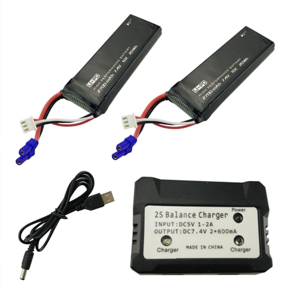 2 uds 7,4 V 2700mah con 2 en 1 cargador para Hubsan X4 H501S H501A H501C H501M H501S W H501S pro de espaã a