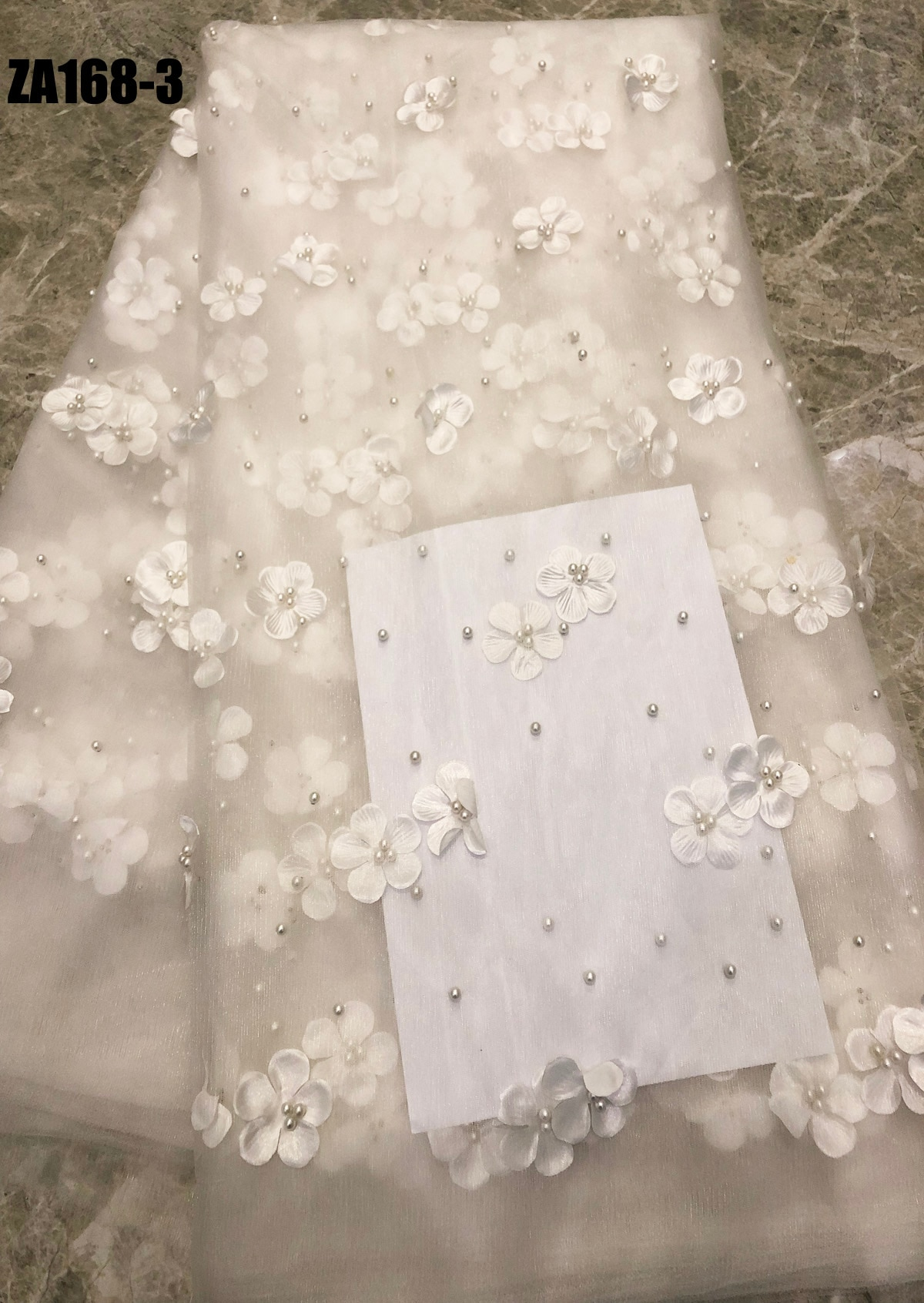 Tela de encaje con cuentas 3D blancas 2019, apliques de malla de alta calidad con bordado, telas de encaje nigeriano de tul con flores 3D para novia ZA168