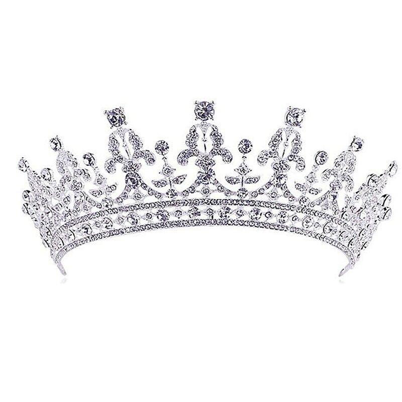 Lujo boda Tiara de cristal para novia coronas princesa reina desfile graduación Rhinestone velo Tiara diadema boda accesorio para el cabello