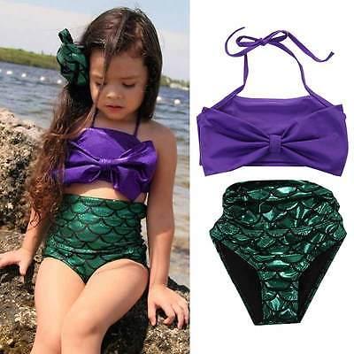 Girls Kids Mermaid Swimmable Bikini Set Swimwear Swimsuit Swimming Costumes 2PCS  Cosaplay Kids Children