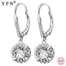 YFN-boucles doreilles en argent Sterling 925, bijoux en zircone cubique blanche, bijoux à la mode, cadeaux pour femmes