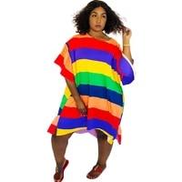rainbow striped sexy plus size dress women round neck short ruffle sleeve loose dress summer irregular knee length beach dress