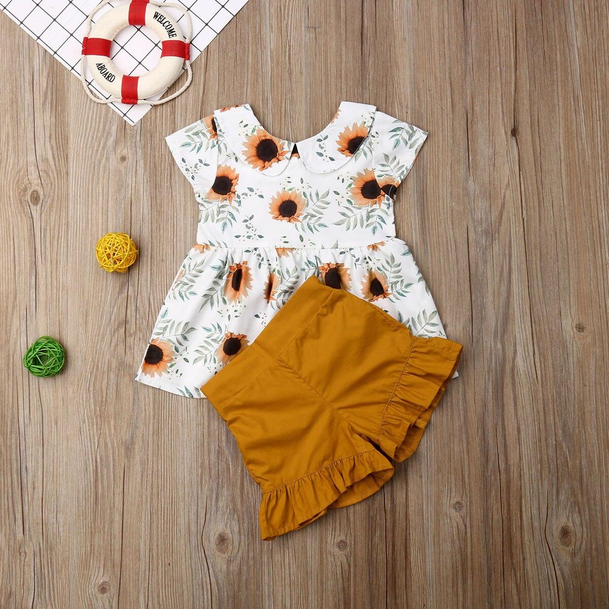 Pudcoco verano bebé Infante ropa de niña sin mangas estampado de girasol tops de princesa Ruffle pantalones cortos 2 uds trajes ropa de verano