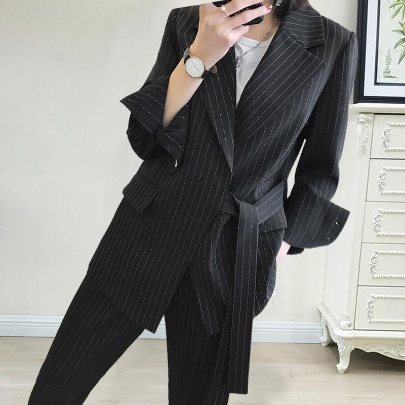 New arrival women plus big size pant suit professional temperament fashion warm suit elastic waist pant comfortable pant suits