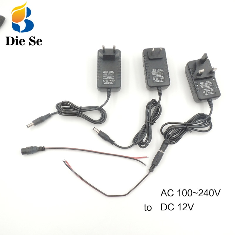 Power Adapter DC 12V 1A Adapter 220V to 12V Charge Supply Universal Switch EU US UK Plug 220V to 12V  Linear Power Supply 12V