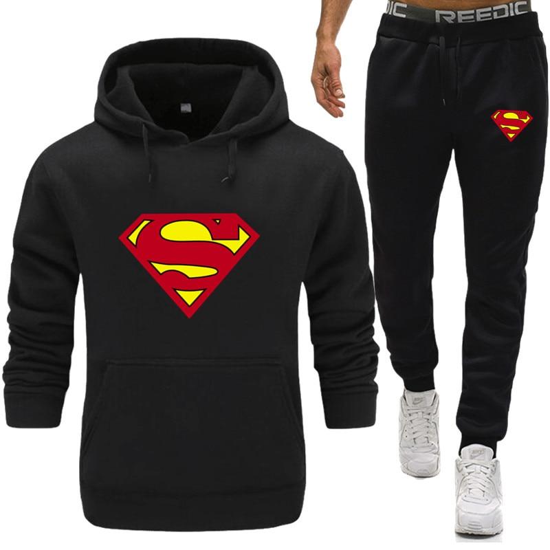 Superman hombres chándales con pantalones nuevos conjunto para gimnasio espesar Fleece hombre otoño ropa de dos piezas chándal Casual ropa deportiva sudor