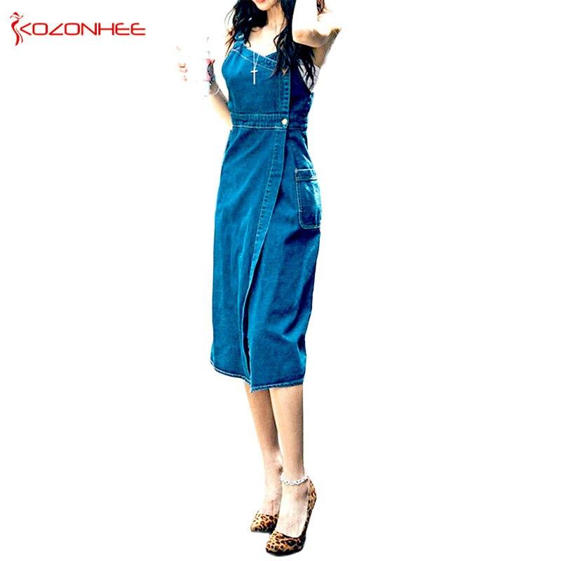 Fashion V-Neck Sheath Sexy Denim Dresses For Women Thin Sex Casual Mid-Calf Sleeveless Summer Soft Dresses Women #9370