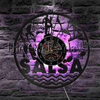 Salsa Dancer Dancing Couple LED Night Light Vinyl Record Wall Clock Latin Ballroom Decorative Lighting Dance Lover Gift