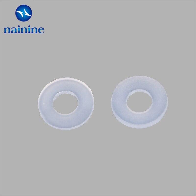 100 Uds DIN125 ISO7089 M2 M2.5 M3 M4 M5 M6 M8 de plástico blanco de arandela de nylon en plana separador arandela de sellado anillo de junta NL03