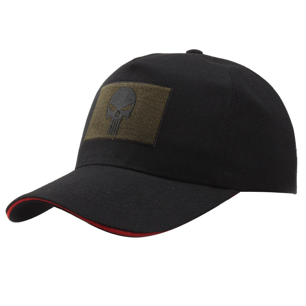 Nuevas gorras de béisbol negras con diseño de calavera de The Punisher para hombres, gorras deportivas de héroes ajustables, increíbles gorras negras con esqueleto