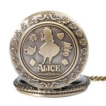Rétro Bronze rêve Alice au pays des merveilles lapin boisson moi Tag marron verre Quartz montre de poche chaîne collier pendentif pour fille femmes