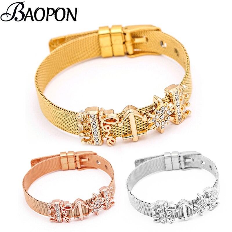2019 Hot Sale Stainless Steel Charm Mesh Bracelet Love Set Snowflake & Crown Charm Fine Bracelet Bangle for Woman Lover Gift