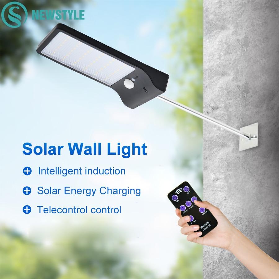 48 LED PIR Montion Solar Lampe 3 Modi Dimmbare Wand Licht Im Freien Wasserdichte Garten Yard Pfad Straße Lampe Mit Fernbedienung control