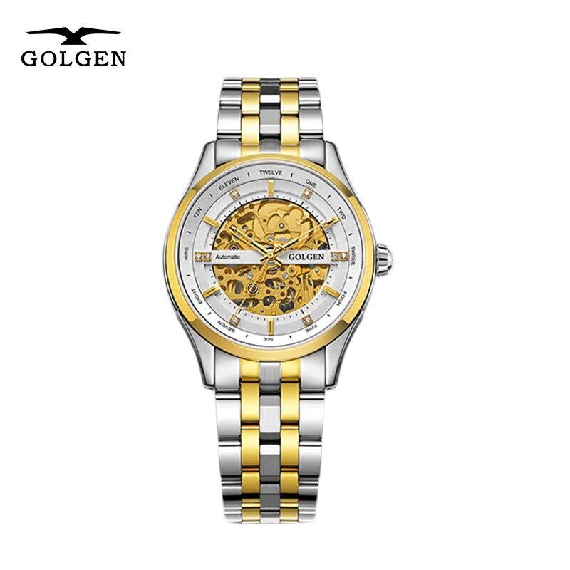 GOLGEN-ساعة رجالية ميكانيكية ، هيكل عظمي ، ستانلس ستيل ، أعمال ، مقاومة للماء حتى 50 متر ، Relogio Masculino
