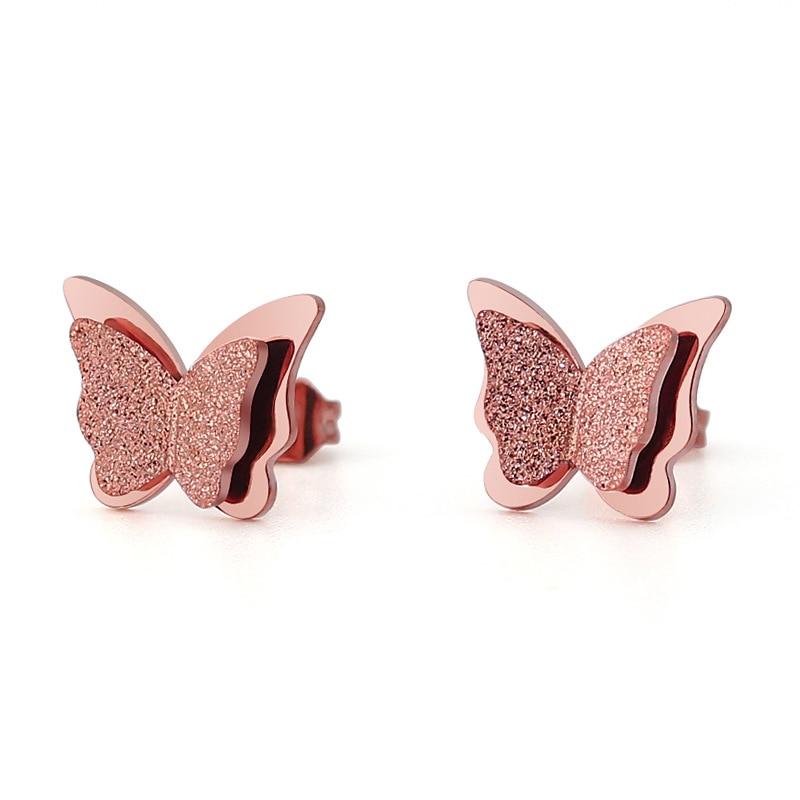 butterfly shape stainless steel stud earrings cute animal titanium steel earrings fashion jewelry rosegold color gift for women