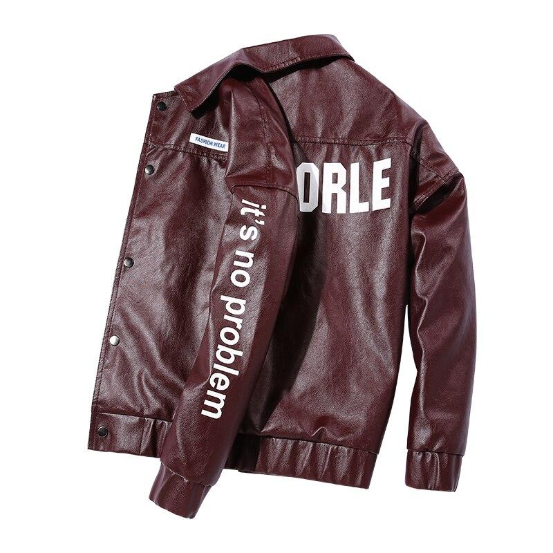 سترة جلدية الرجال الموضة بدوره إلى أسفل طوق كبير 4XL دراجة نارية جديدة ماركة الملابس الطباعة بولي Jacket سترة جلدية سليم صالح معطف