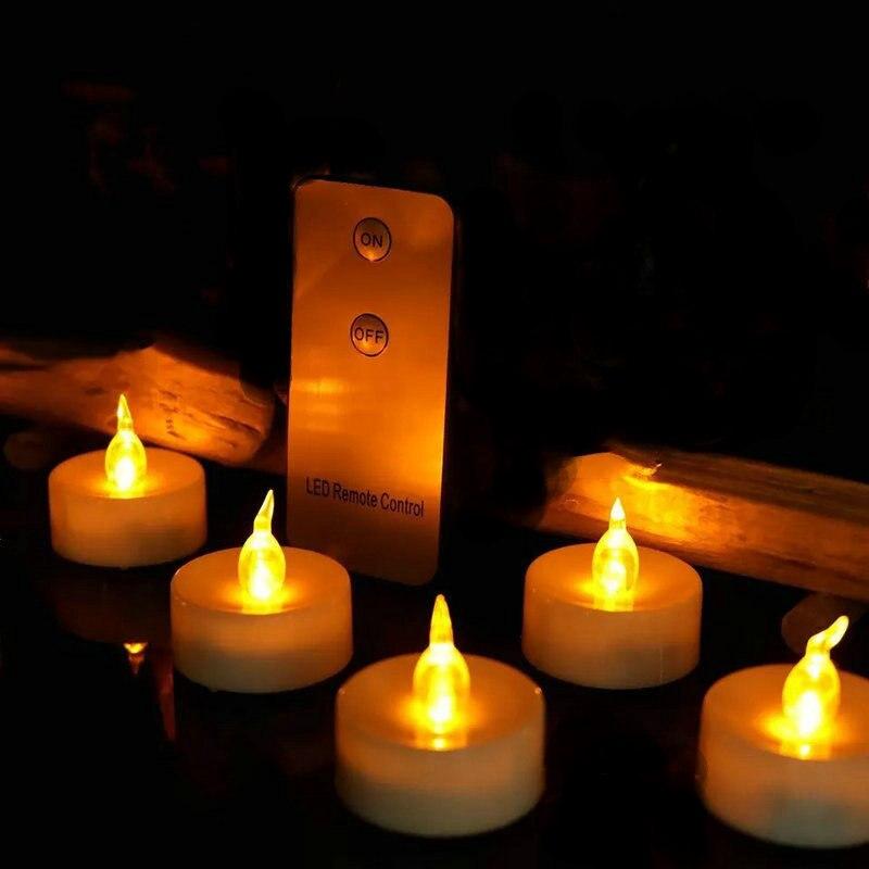 36 stücke Batterie bedienen LED kerze fernbedienung flackern flammenlose votives teelicht lampe F/Hochzeit Xmas party bar Decor -bernstein