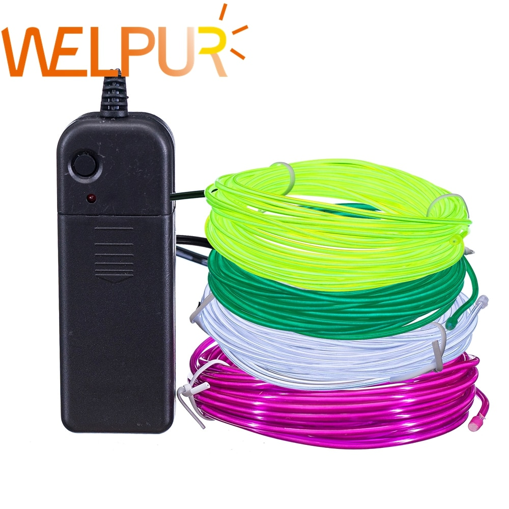Flexible Neon Light 1m/3m/5M 3V Glow EL Wire Rope tape Cable Strip LED Neon Lights Shoes Clothing Ca