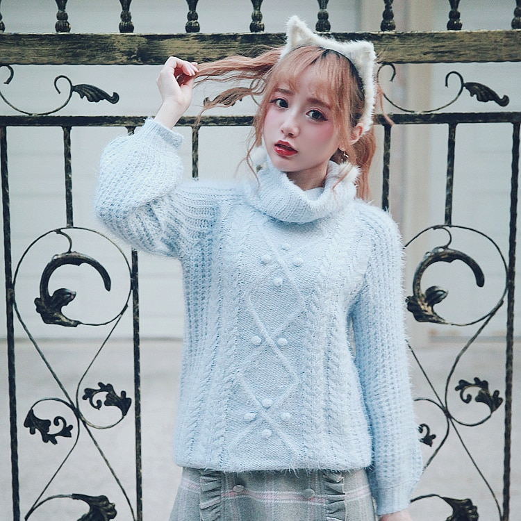 KEQI Bobon21 princesa dulce lolita azul y rosa suéter color macarrón sentido chica gargantilla Retro suéter estilo estudiantil T1417