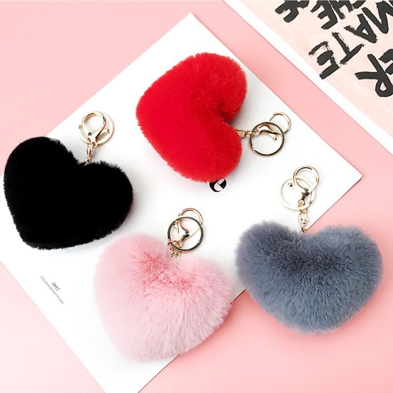 Trendy Heart Ball Pom Pom Keychain Fluffy Faux Rabbit Fur Pompom Key Chains Women Bag Charms Trinket Accessories Keyring Llavero
