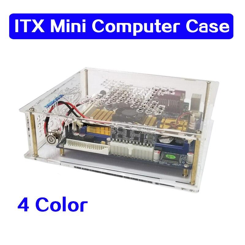 ITX, mini chasis transparente para ordenador de sobremesa, carcasa sencilla HTPC, caja de control industrial para chasis, caja de acrílico
