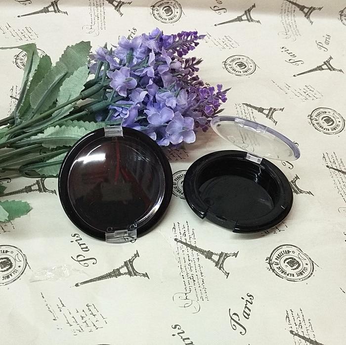 3.65cm aluminum plate black ps eye shadow/blush/face cream plastic box with transparent flip cap