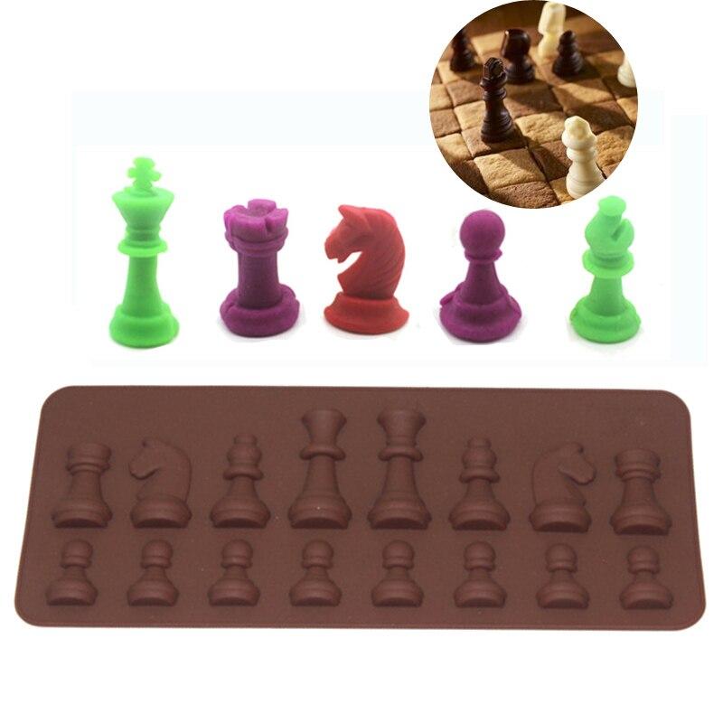 16 cavidad Internacional de Ajedrez de molde de chocolate, hielo cubo azúcar jabón molde de silicona moldes de torta para decoración herramientas para hornear bandeja