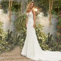 eightale boho wedding dress vintage appliques lace bride dress open back mermaid train wedding gowns vestidos de novia 2019