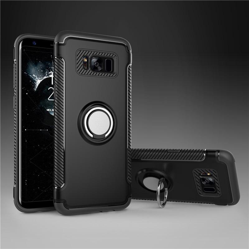 Für Samsung Galaxy S7 rand S8 S9 S10 Plus Hinweis 8 9 10 Luxus Stoßfest Fällen Fall Metall 360 Finger ring Halter Auto Combo Abdeckung