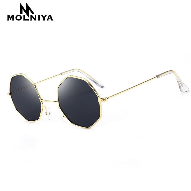 MOLNIYA 2019 Sunglasses Women Brand Designer Metal Small Frame Polygon Clear Lens Sunglasses Men Vintage Sun Glasses Hexagon