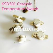 Interrupteur de température en céramique   Commutateur de température en céramique KSD301 250V 10A, 180 à 200 degrés Celsius normalement ouvert 5 pièces/lot