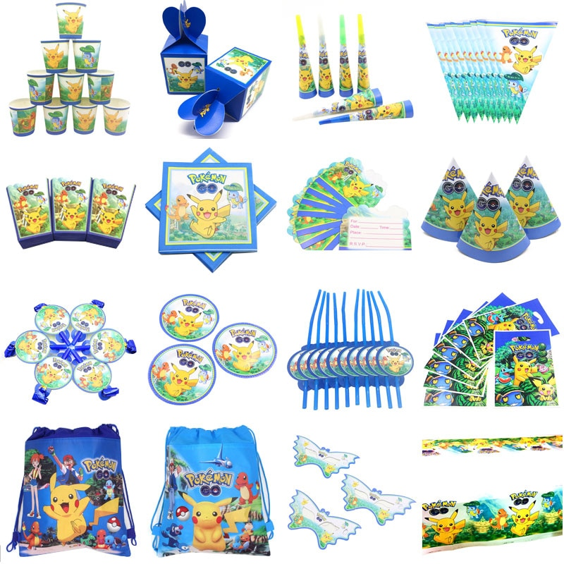 Für 10 Menschen Baby Junge Erwachsene Geburtstag Partei Liefert Pokemon Gehen Pikachu Partei Dekoration Sets Papier Girlande Tassen baby Dusche