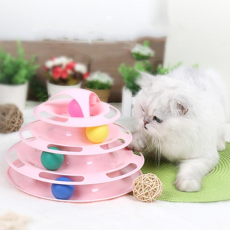 @ Él divertido juguetes para mascotas juguetes para gato disco con pelota loca juguete interactivo y divertido jugar disco de cuatro capas giratoria gato juguete juego mental