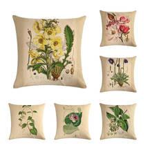 Herb Plant Cushion Cover 45*45cm Hazelnut Mistletoe Acorus Calamus Sour Cherry Poppy Pattern Outdoor Decoration Pillowcase ZY38