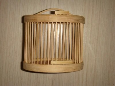 Jaula para insectos pequeña hecha a mano de bambú redondo cricket katydid saltamontes caja de jaula