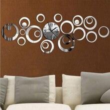 Horloge murale à Quartz Design moderne   Grande horloge décorative 3d miroir acrylique De salon, livraison gratuite, nouveau 2017