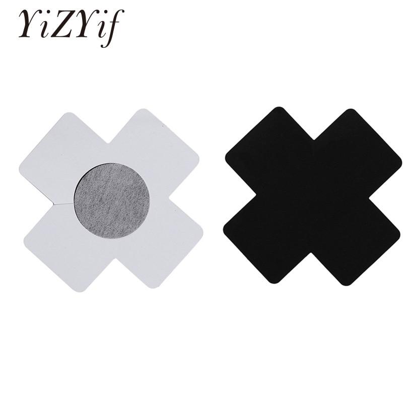 YiZYiF 20 piezas cubierta de pezón para mujeres desechable X Plus Sign pegatinas para pezón adhesivo cruzado cubierta de satén pezón