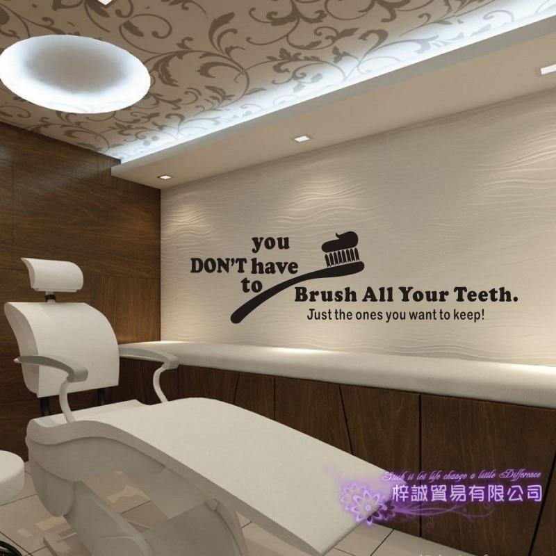 Clínica Dental pegatina de la pared de baño cartel tatuajes de pared de vinilo decoración Mural ortodoncia diente cepillarse los dientes de Odontología de La etiqueta engomada