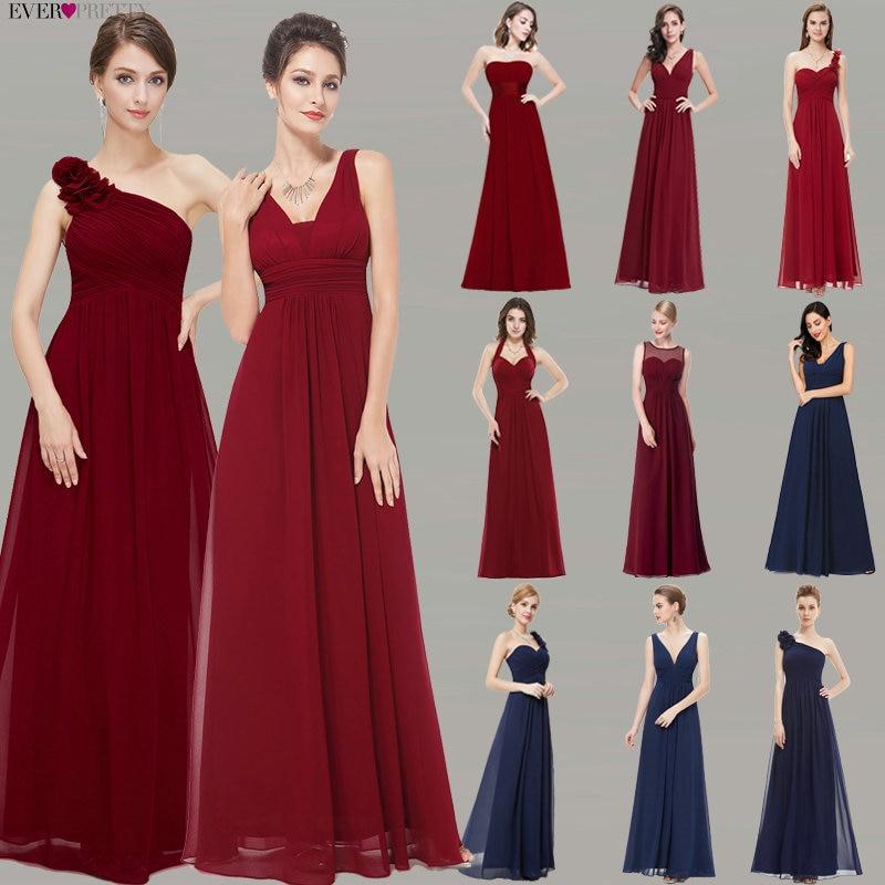 Burgundowe sukienki druhen kiedykolwiek ładne damskie 2020 tanie A-line szyfonu Royal Blue długie sukienki druhen na wesele