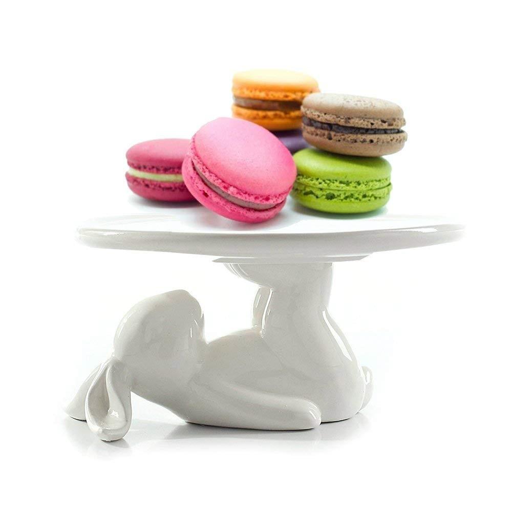 Plato de cerámica de conejo, bandeja para servir comida de postre, soporte bonito para pastel, vajilla artesanal de regalo para los amantes de los utensilios de cocina