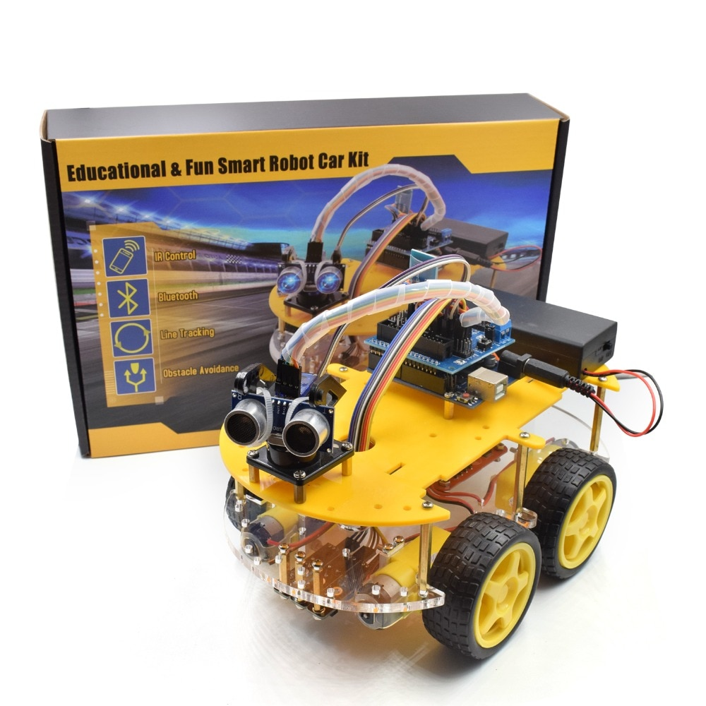 Smart Robot Car 2WD/4WD Chassis Kit with Ultrasonic Module, L298N Driver Board, Remote, IR Control for Arduino UNO DIY Kit